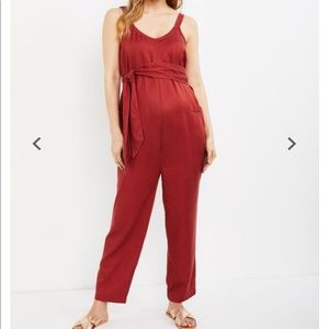A Pea in the Pod Wide Leg Maternity Overall Red